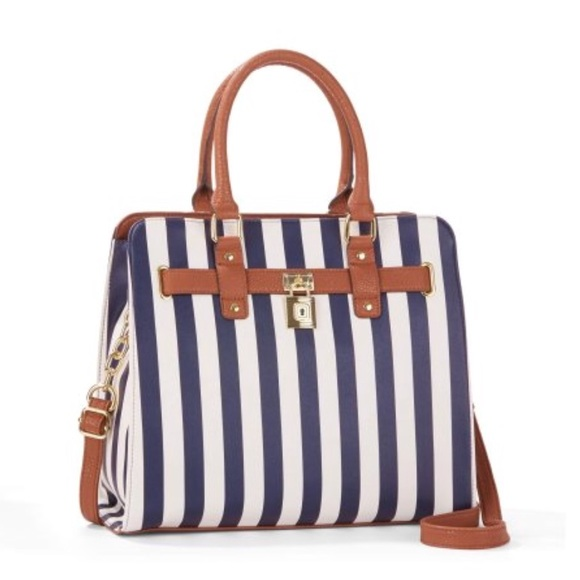 368676cfa6abae Time and Tru Bags | White Navy Blue Striped Purse | Poshmark